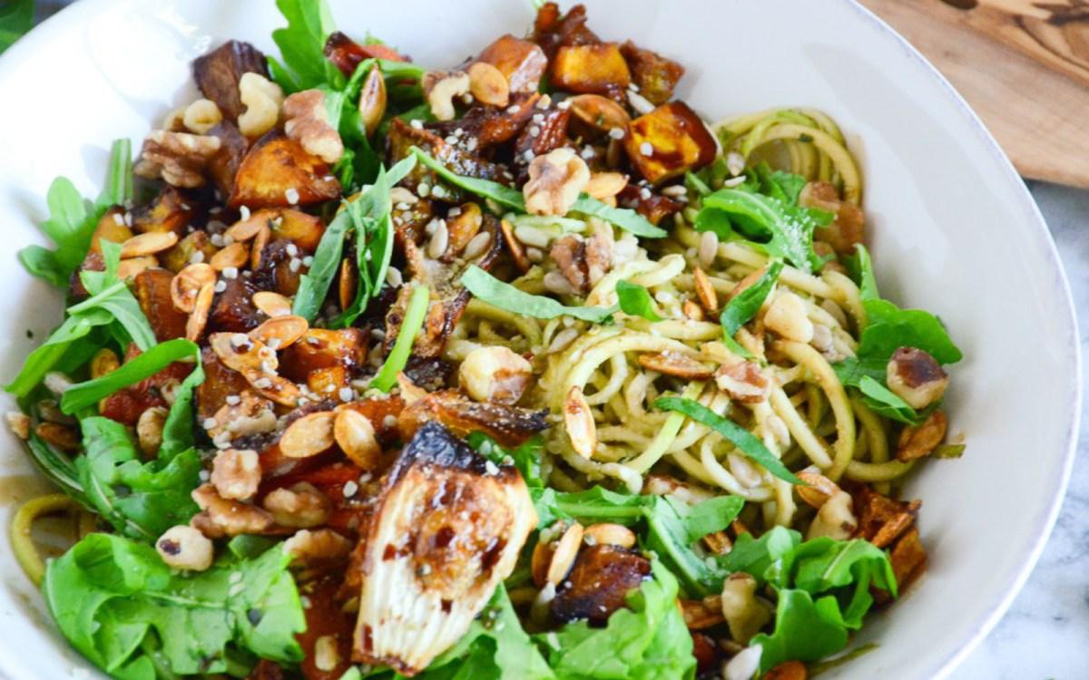 Vegan Gluten Free Roasted Veggie Zucchini Pasta
