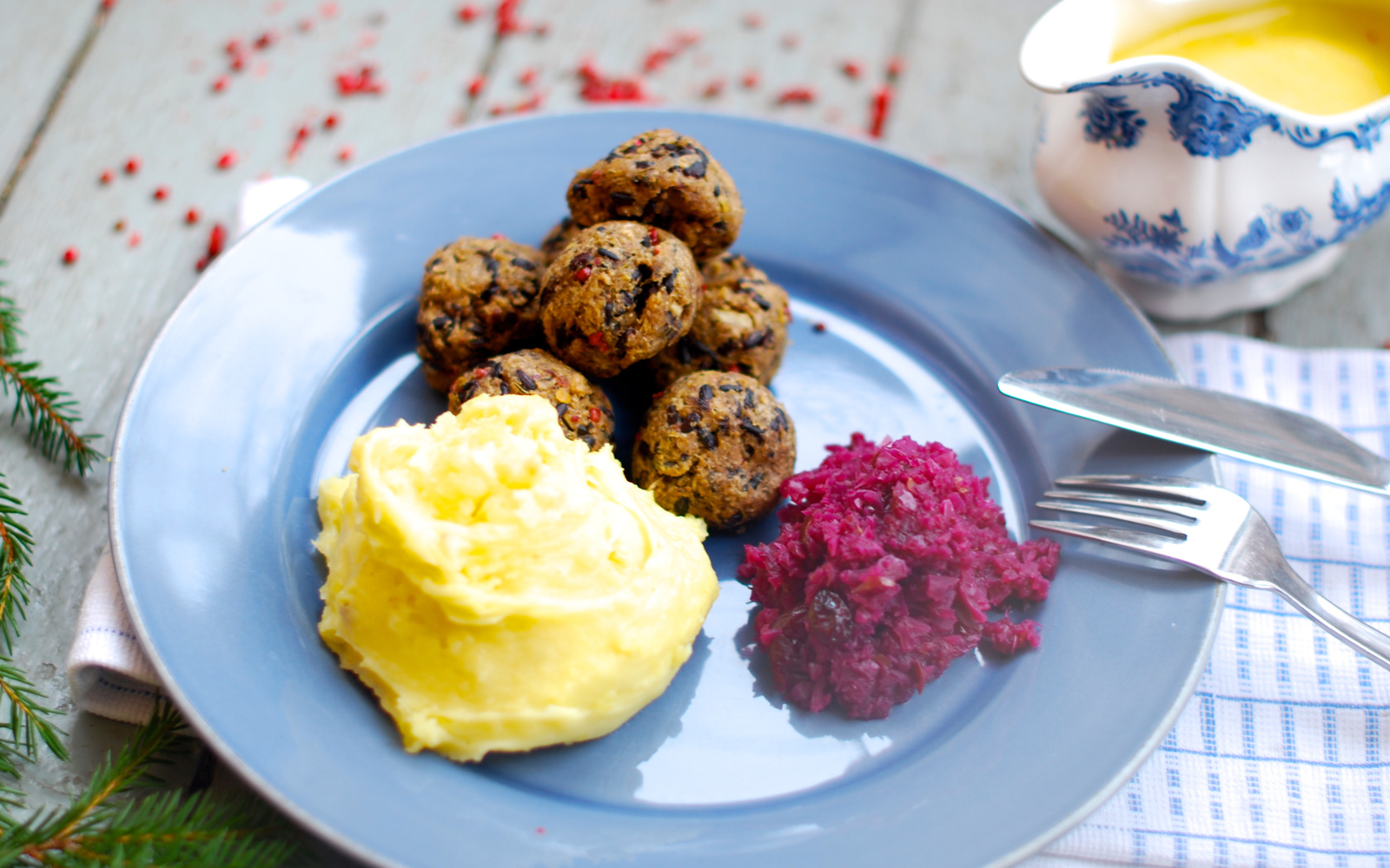 Swedish Meatballs With Lentils and Black Rice