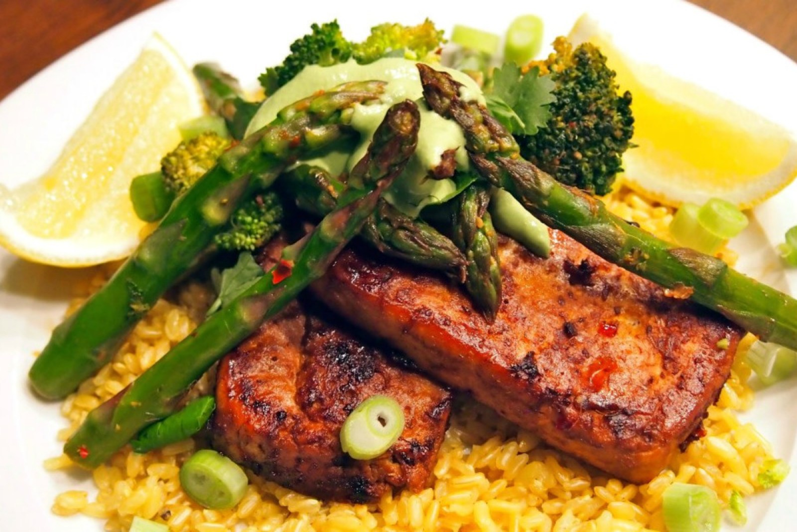 Pan-Fried Tofu Steaks With Coriander Cream and Asparagus Spears