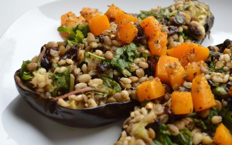 Barley, Lentil, and Herb-Roasted Butternut Squash-Stuffed Eggplant