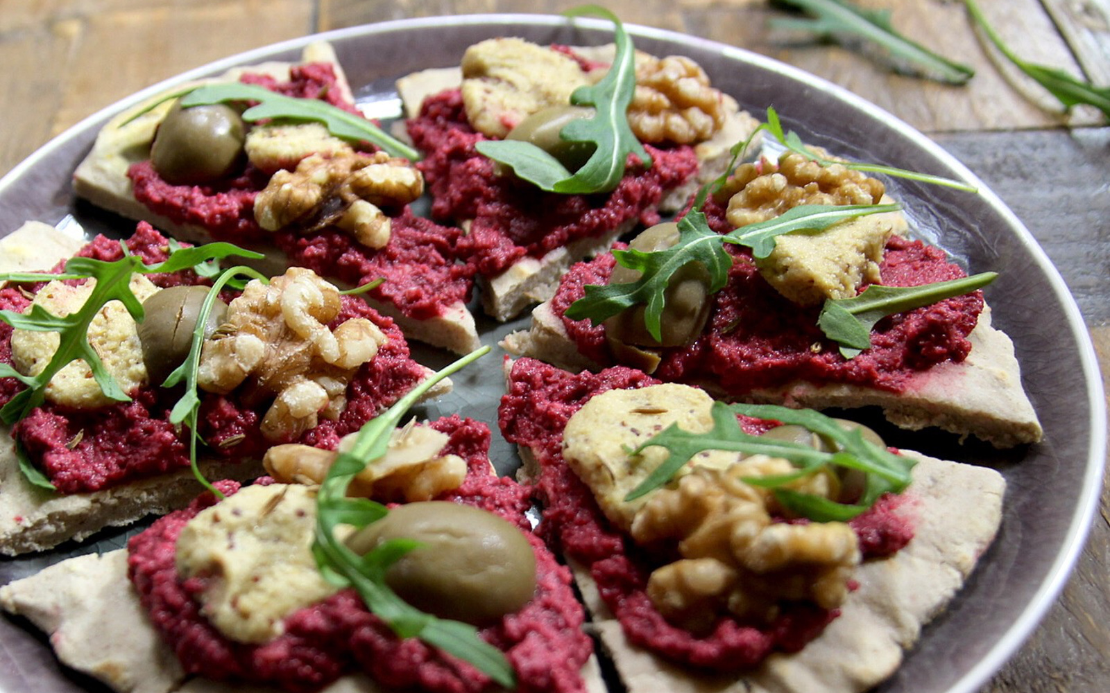 Rustic Buckwheat Flatbread Pizza With Beet Hummus and Cashew Cheese