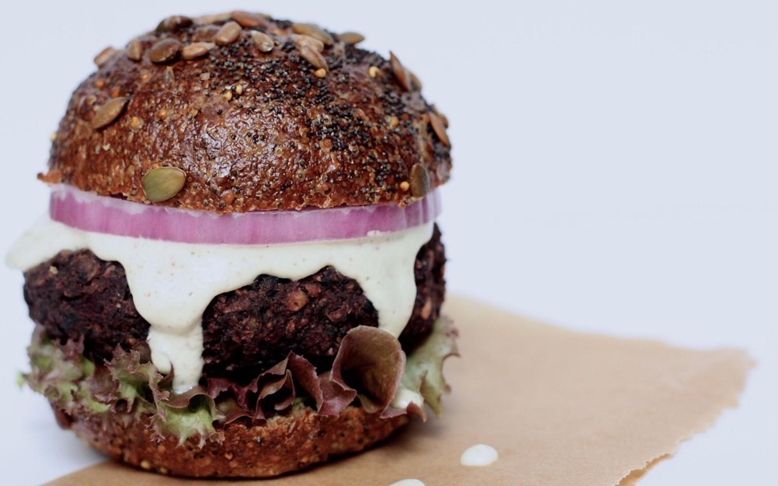 Mushroom, Beet, and Black Bean Burger