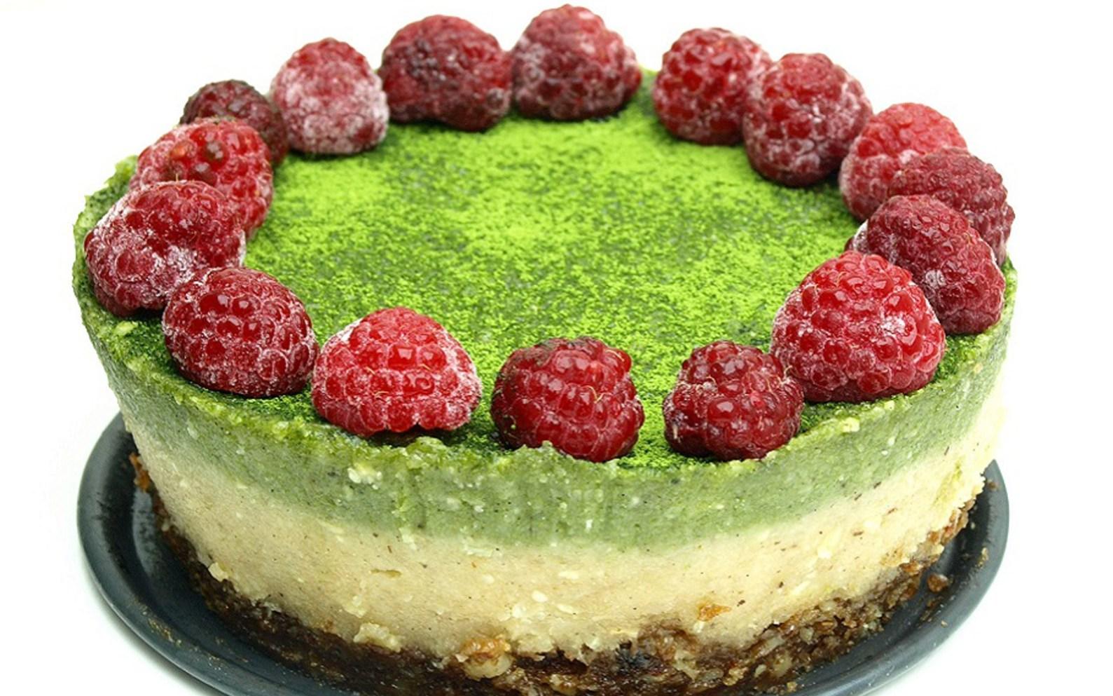 Raw Matcha Raspberry Cheesecake With A Raisin Walnut Crust Vegan