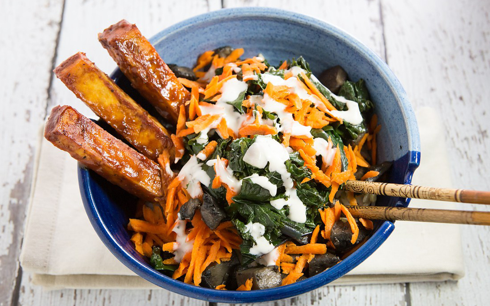 BBQ Tofu and Braised Garlic Kale Bowl With 5 Minute Ranch Dressing