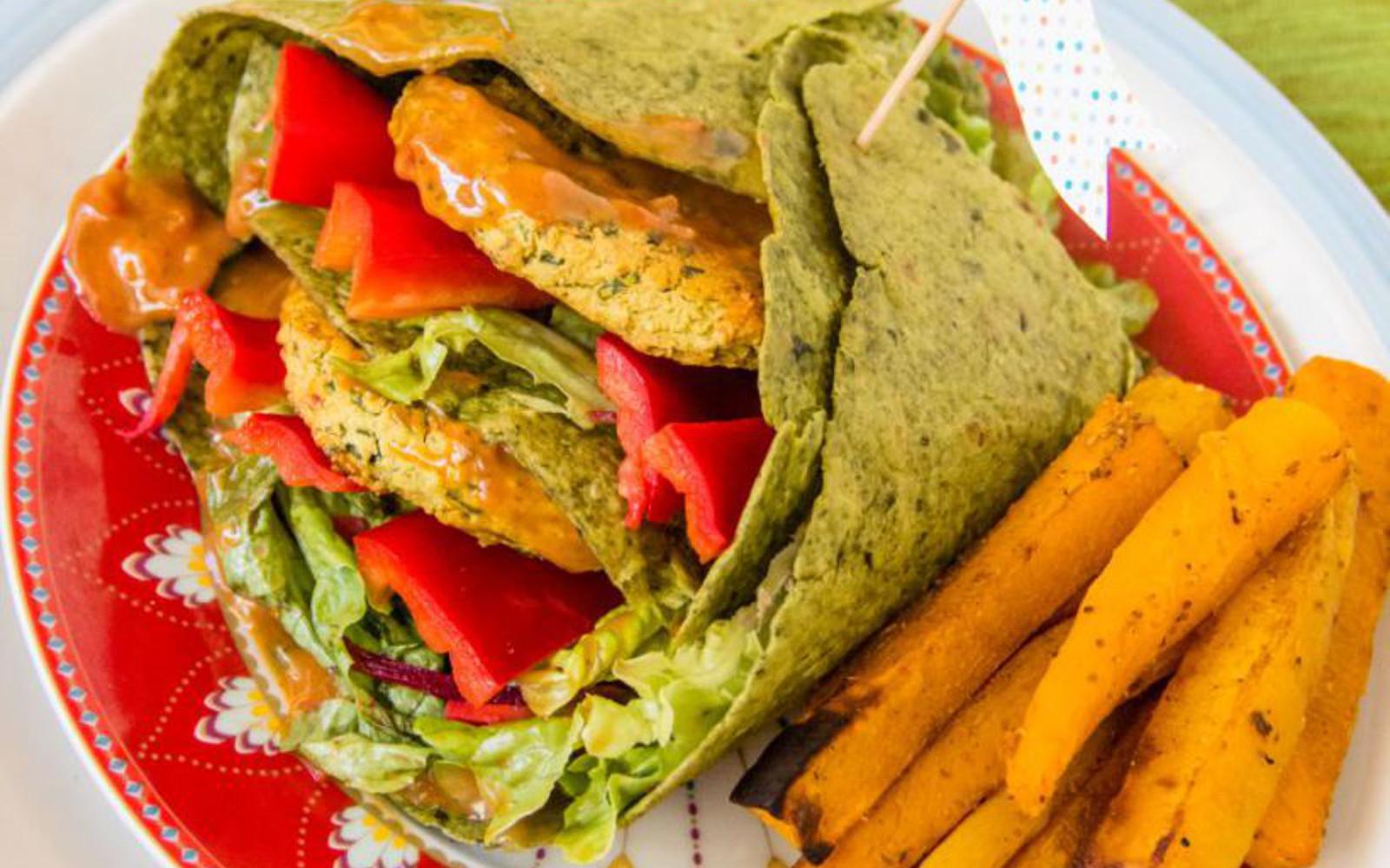 Red Lentil Burger Wraps With Pumpkin Fries