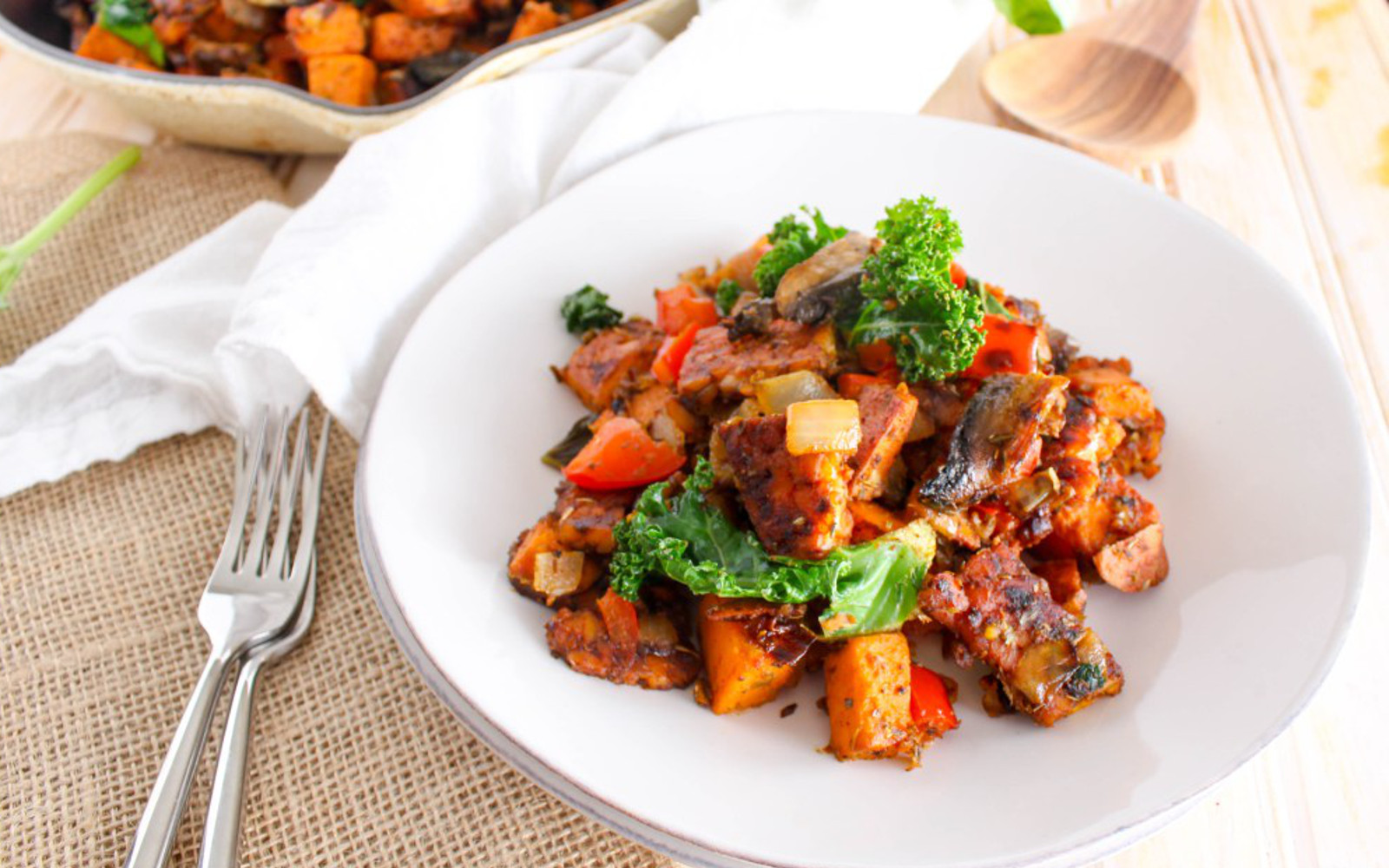 Vegan Spicy Tempeh-Bacon Sweet Potato Hash