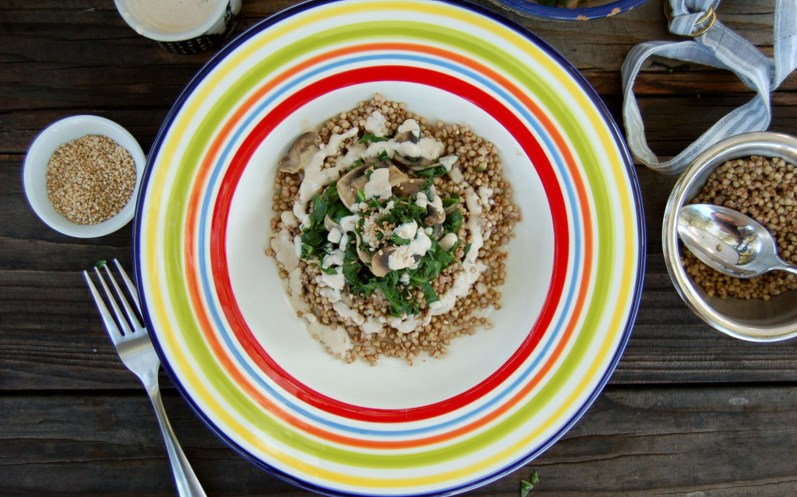 Buckwheat With Collards and Mushrooms