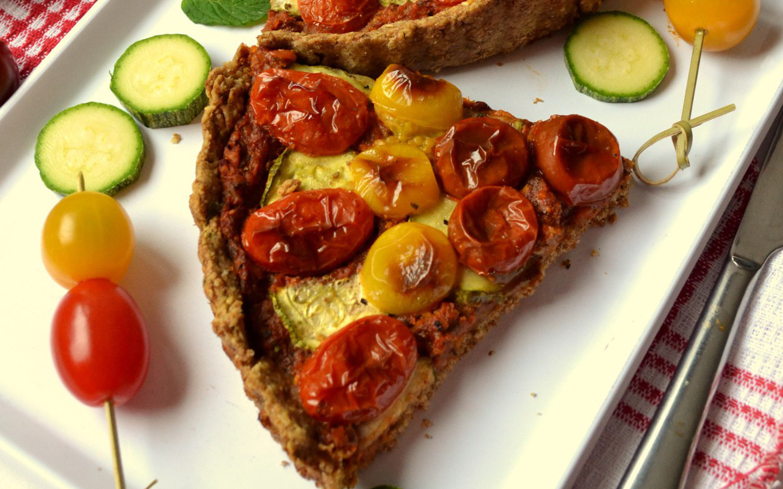 Vegan Cherry Tomato and Pesto Tart