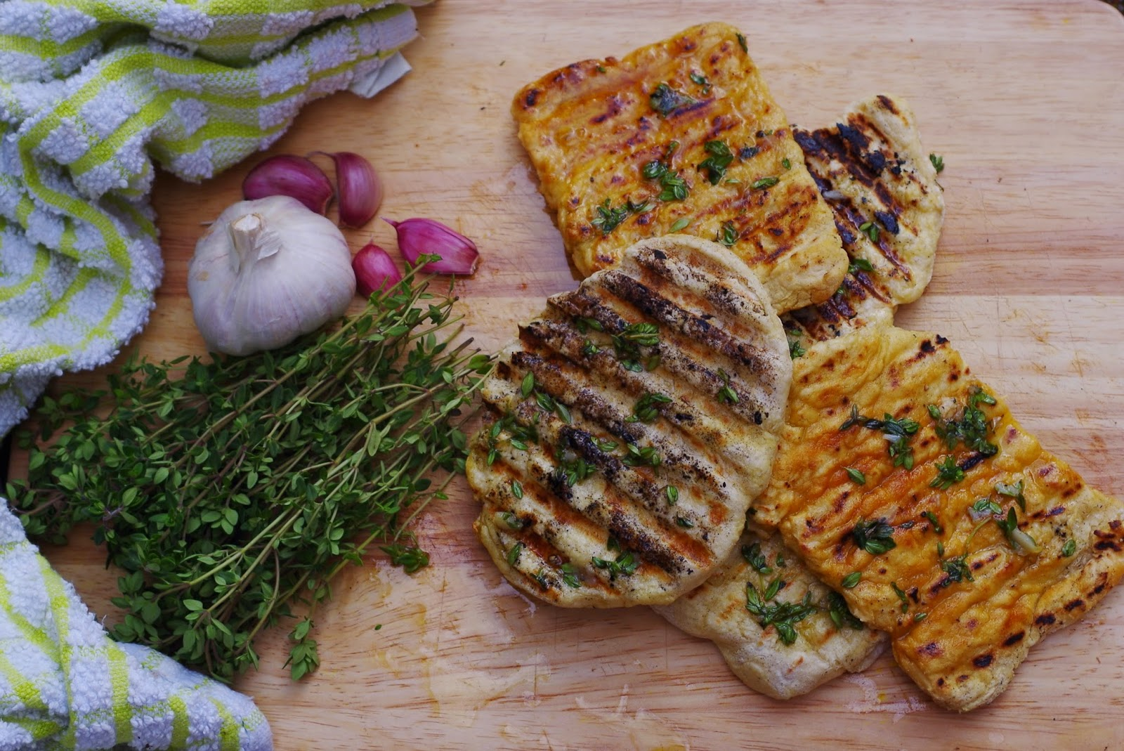 Lemon Thyme and Roasted Garlic Flatbreads