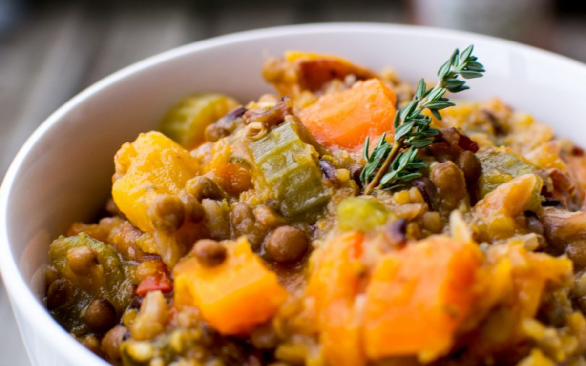 Mixed Herb Lentil and Wild Rice Soup