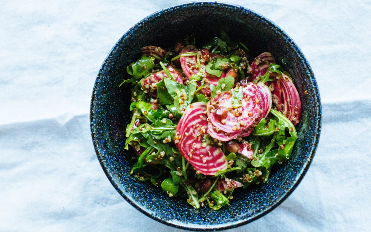 Vegan Chioggia Beet Arugula and Quinoa Salad