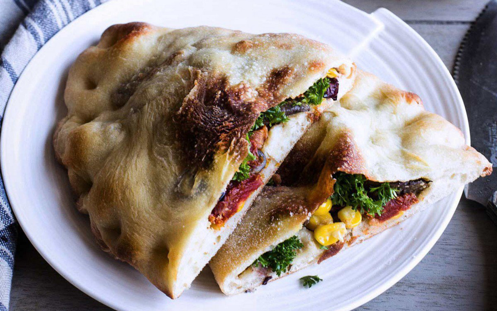 Hummus and Veggie Stuffed Calzone