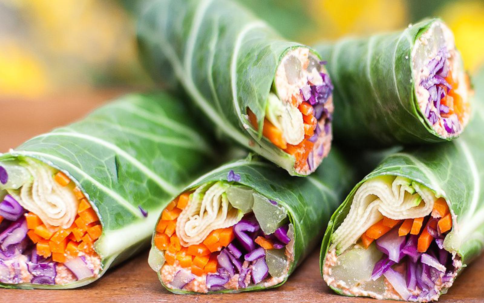 Raw Veggie Wraps With Walnut Pate