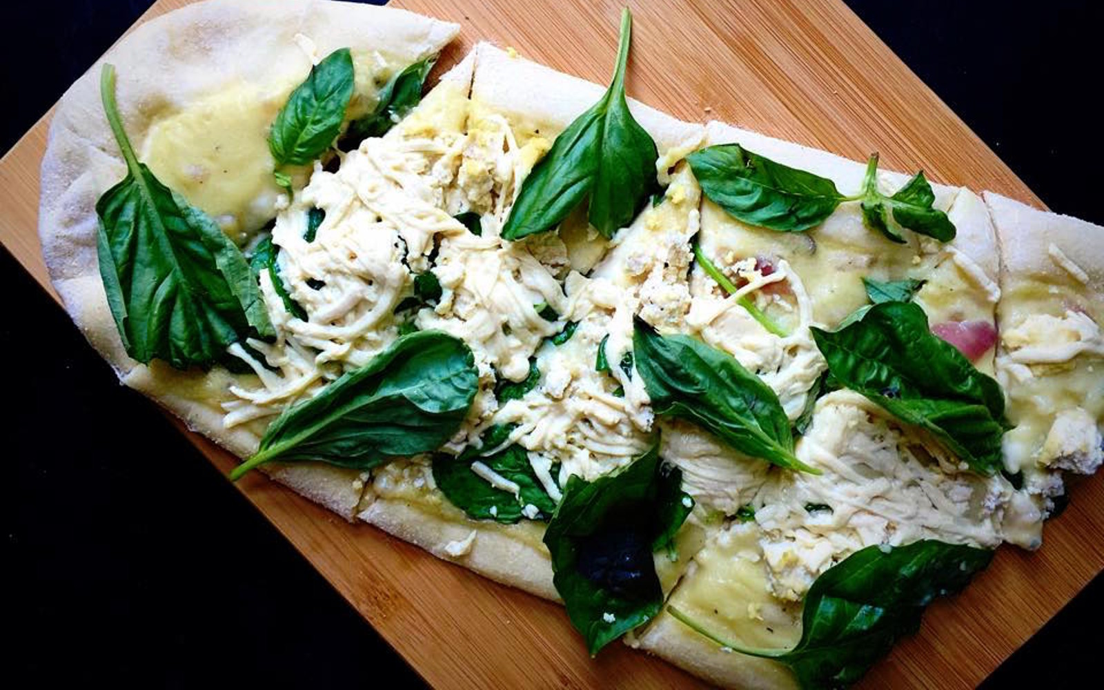 Spinach and Basil White Pizza 2