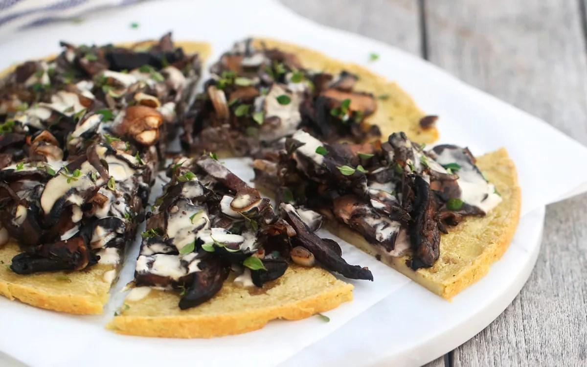 Mushroom Mozzarella Flatbread Pizza
