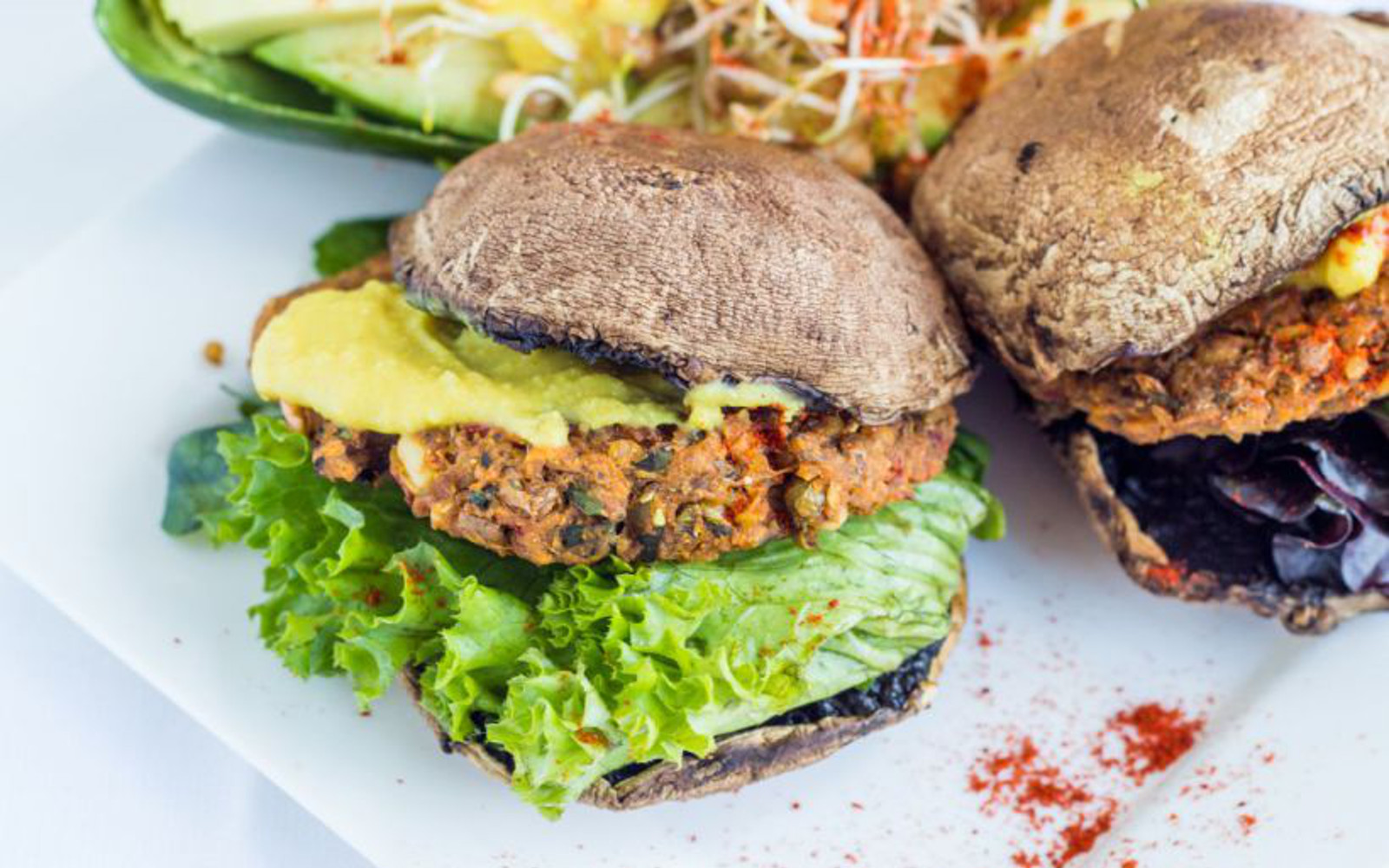 sprouted lentil rice burgers with portobello buns