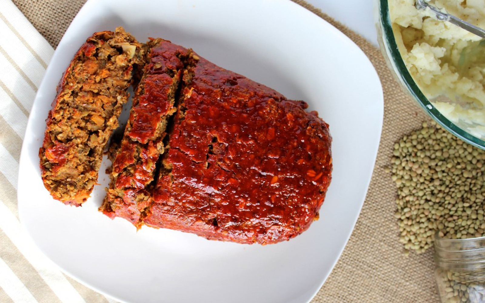 Vegan Maple-Glazed Mushroom and Lentil Loaf