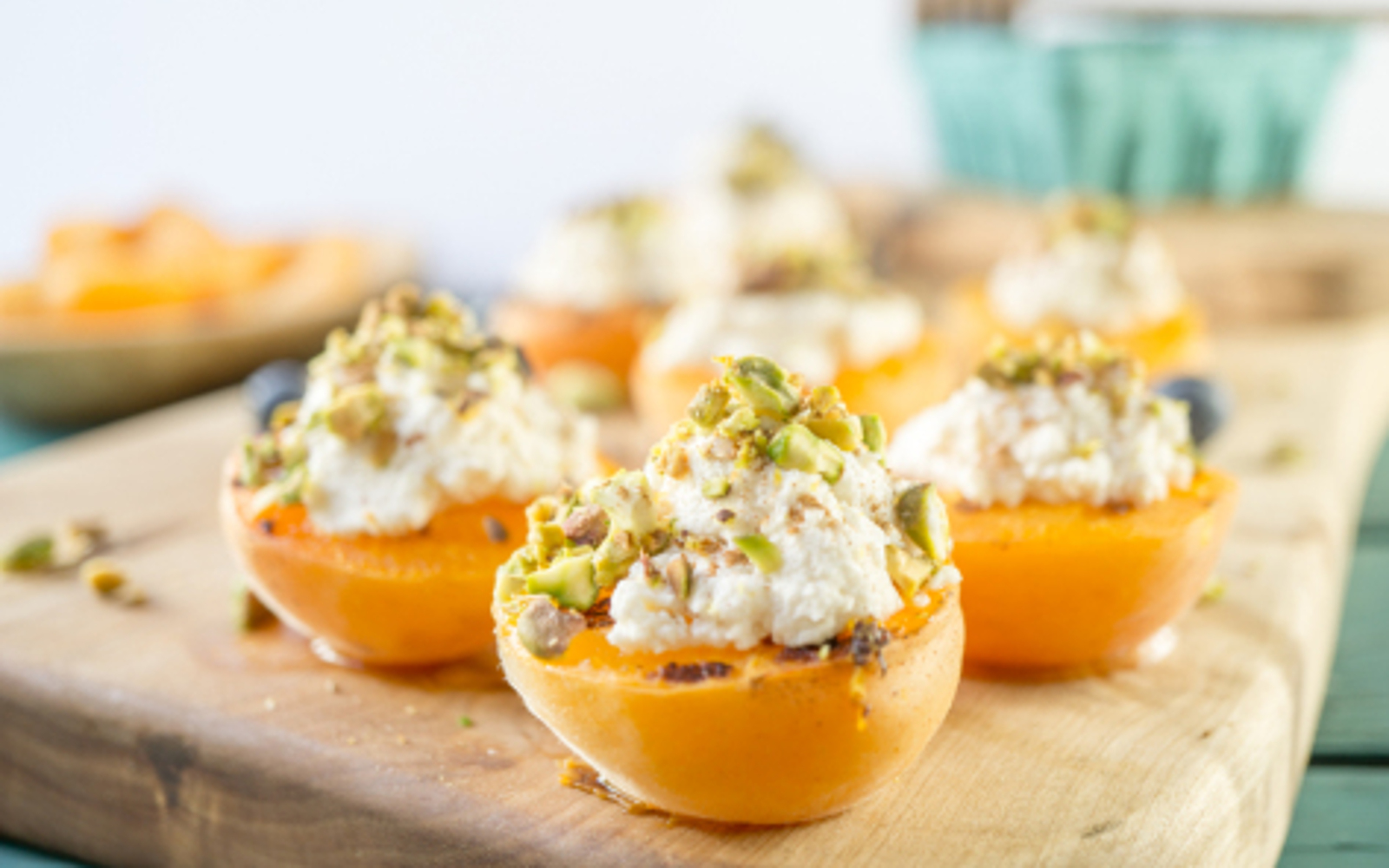 Grilled Apricots with Almond Pistachio Ricotta 1