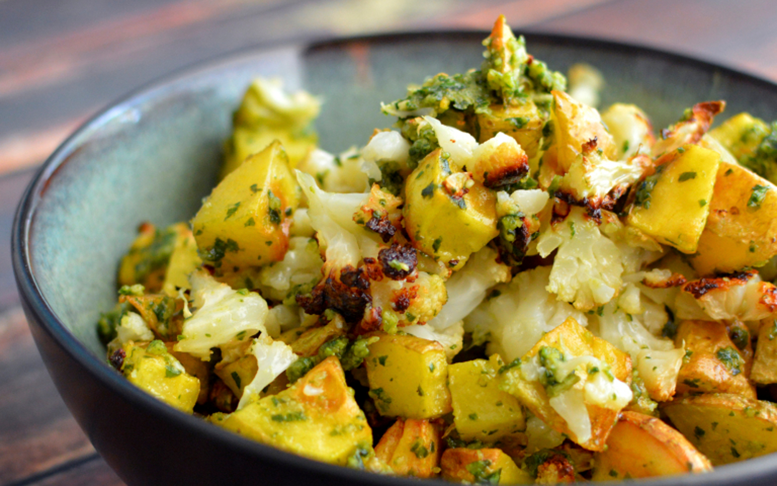 pesto roasted cauliflower and potatoes