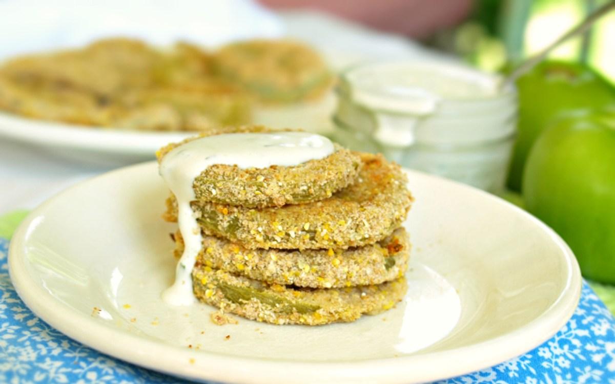 Vegan 'Fried' Green Tomatoes With Cashew Cream