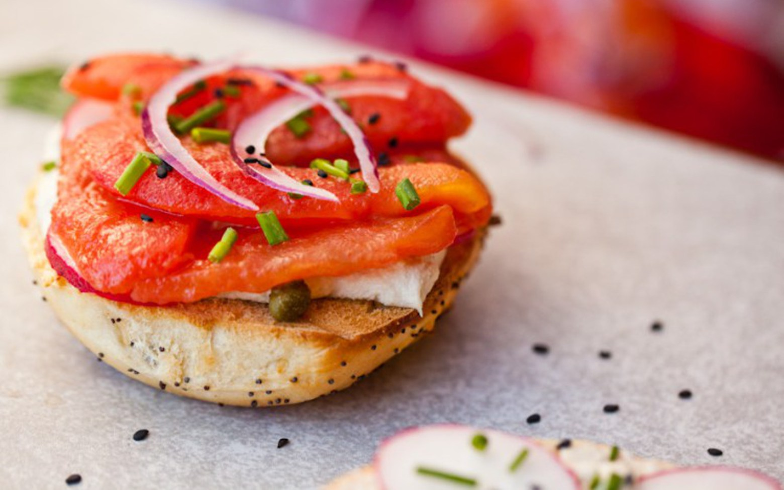 Vegan Bagels With Tomato Lox and Cashew Cream Cheese