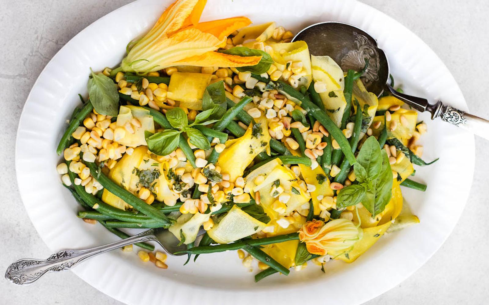 Green Bean, Corn, and Squash Salad With Basil Dressing