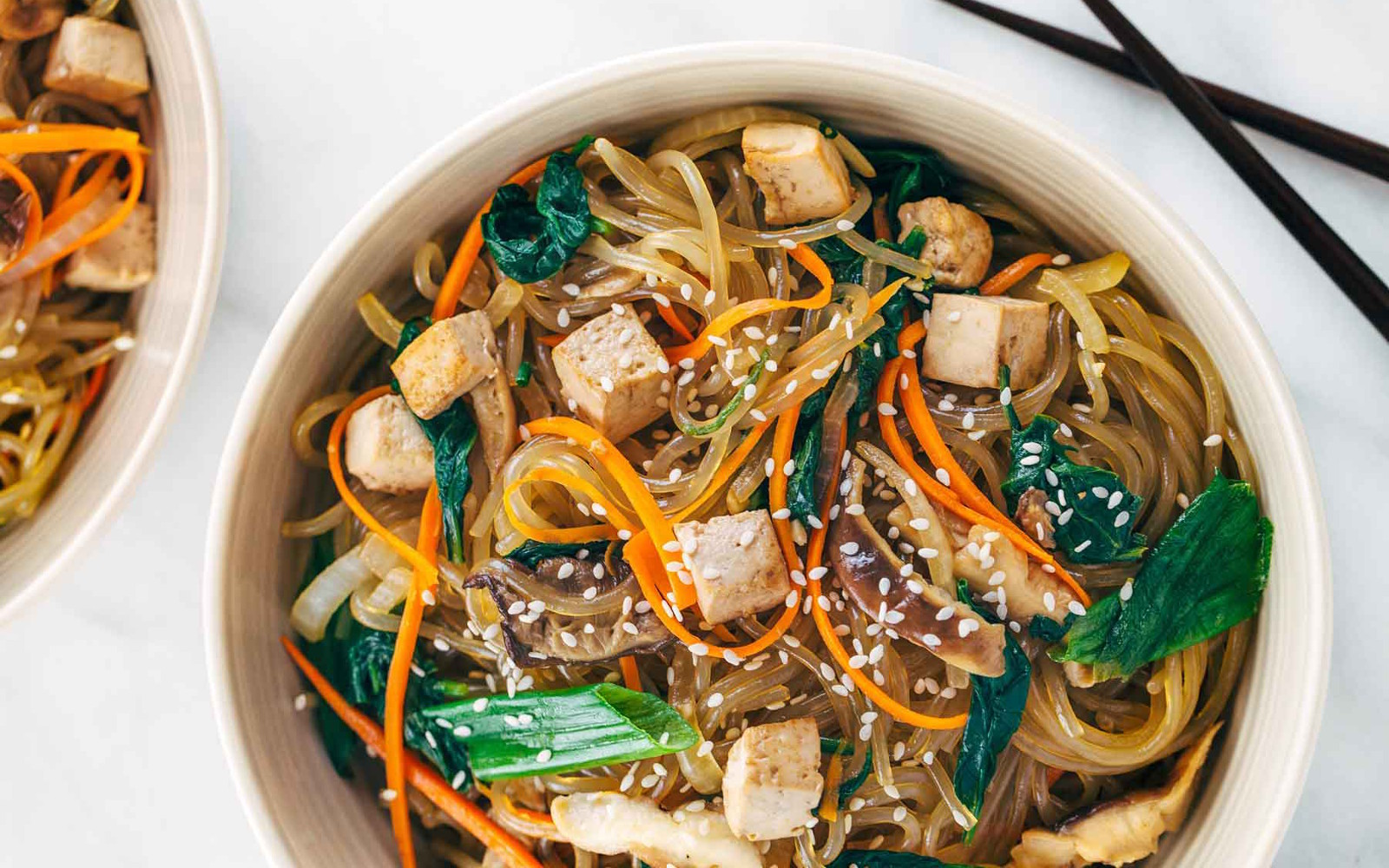 Japchae: Korean Glass Noodles With Tofu