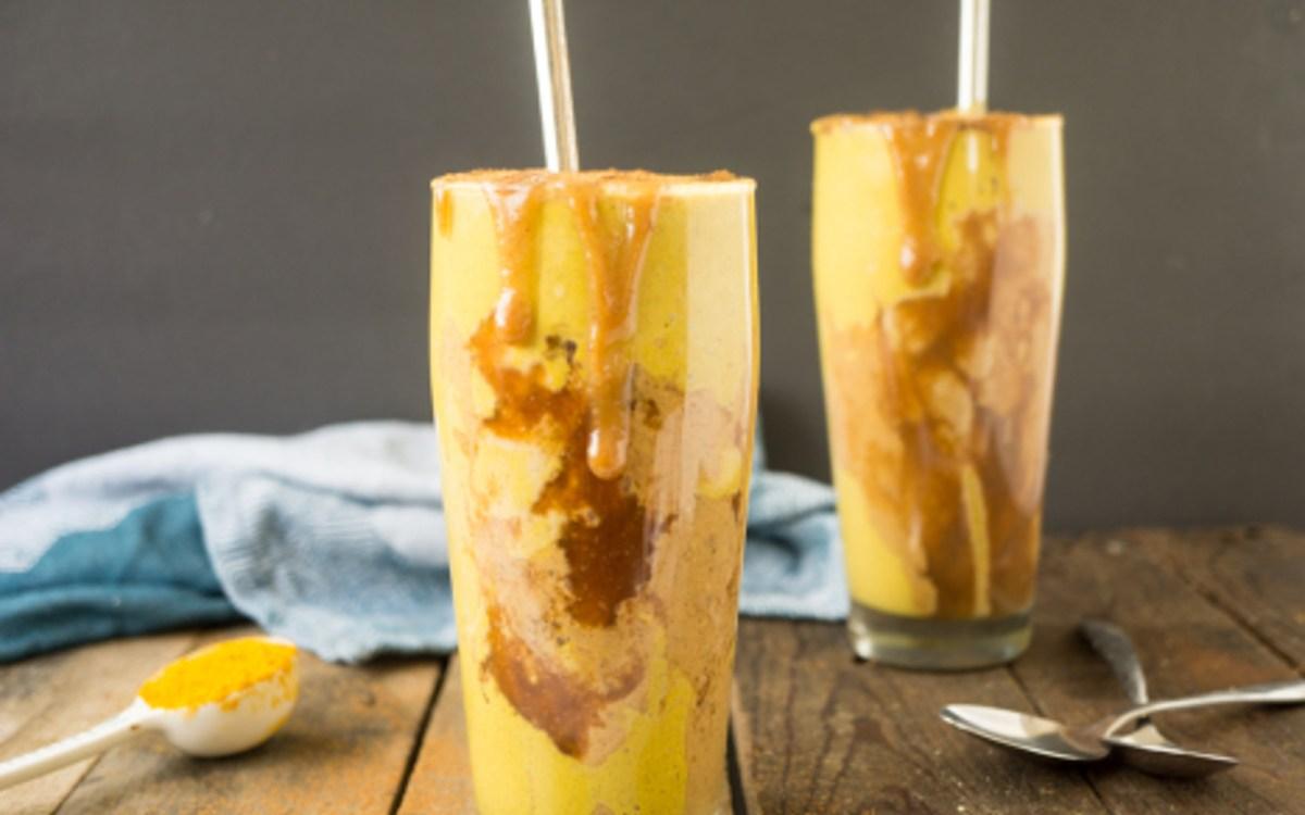 Vegan Peanut Butter Caramel Ribbon Golden Milkshake