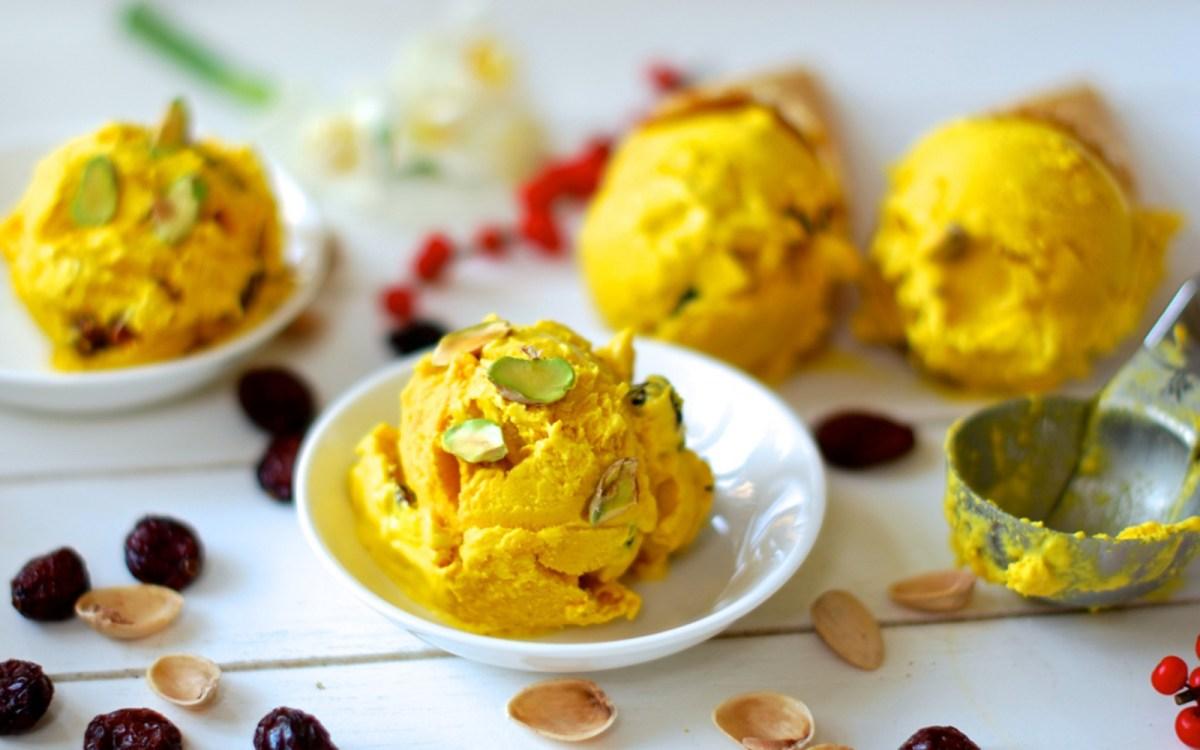 Saffron ice cream with pistachios vegan one green planet ccuart Gallery