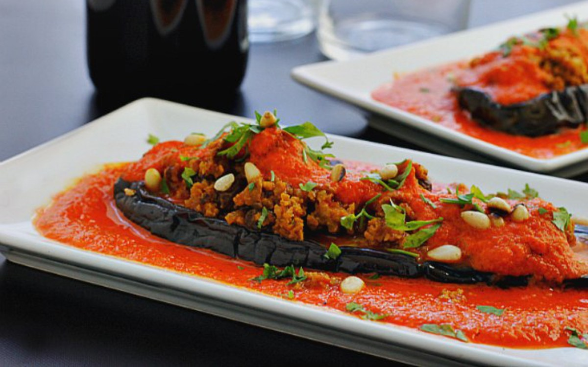 Stuffed Eggplant Cutlets in Red Pepper Sauce