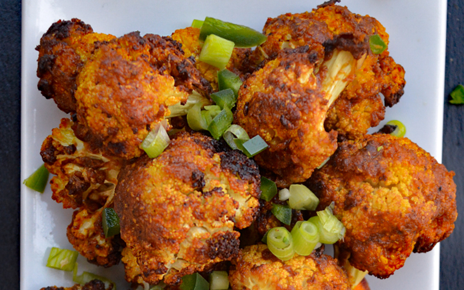 Vegan Gluten-Free Thai BBQ Cauliflower with green onion