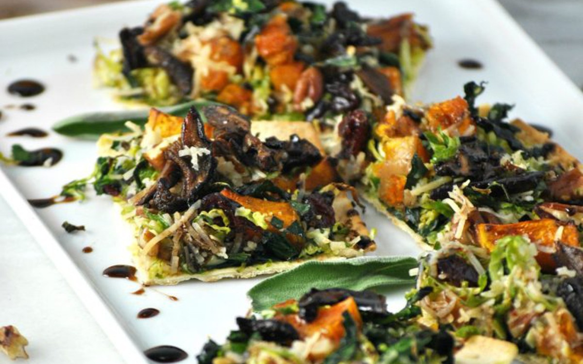 Balsamic Butternut and Brussels Sprouts Flatbread Pizza