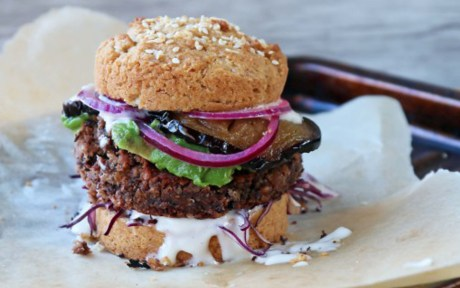 Black Bean Burger With Pickled Red Onion