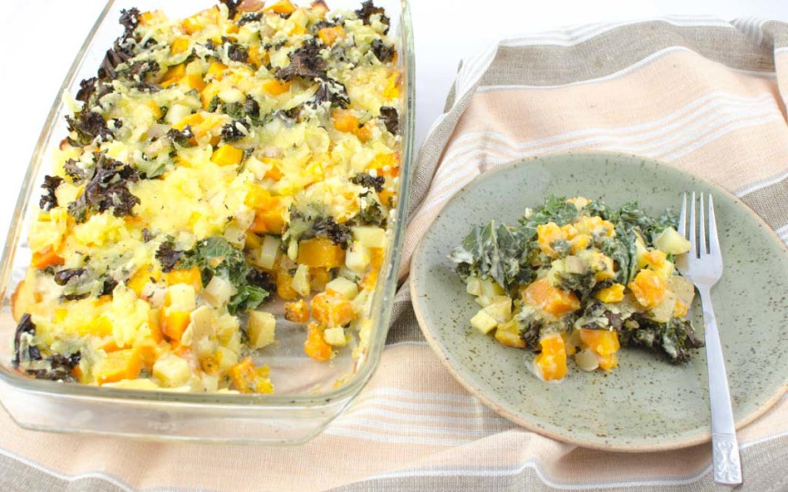Butternut Squash, Potato, and Cabbage Casserole