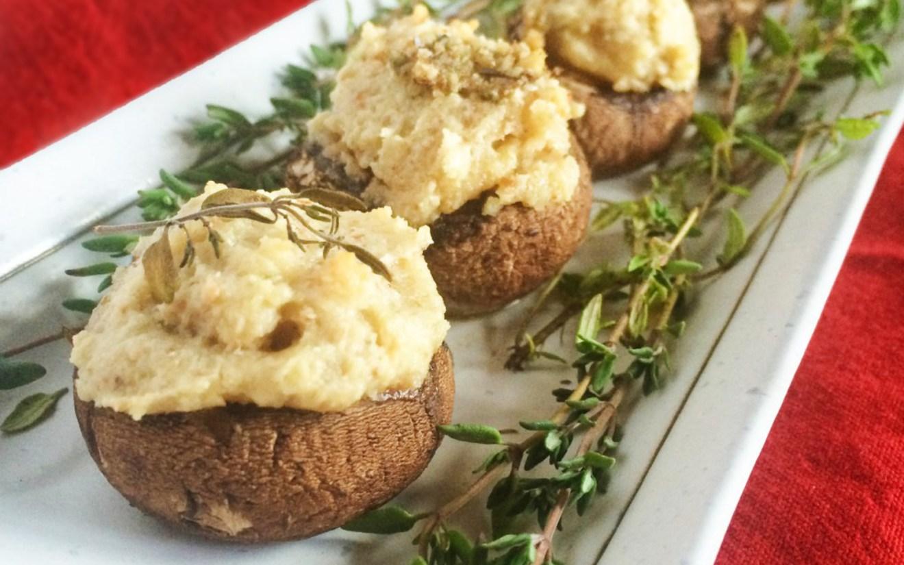 Cashew Cheese Stuffed Mushrooms