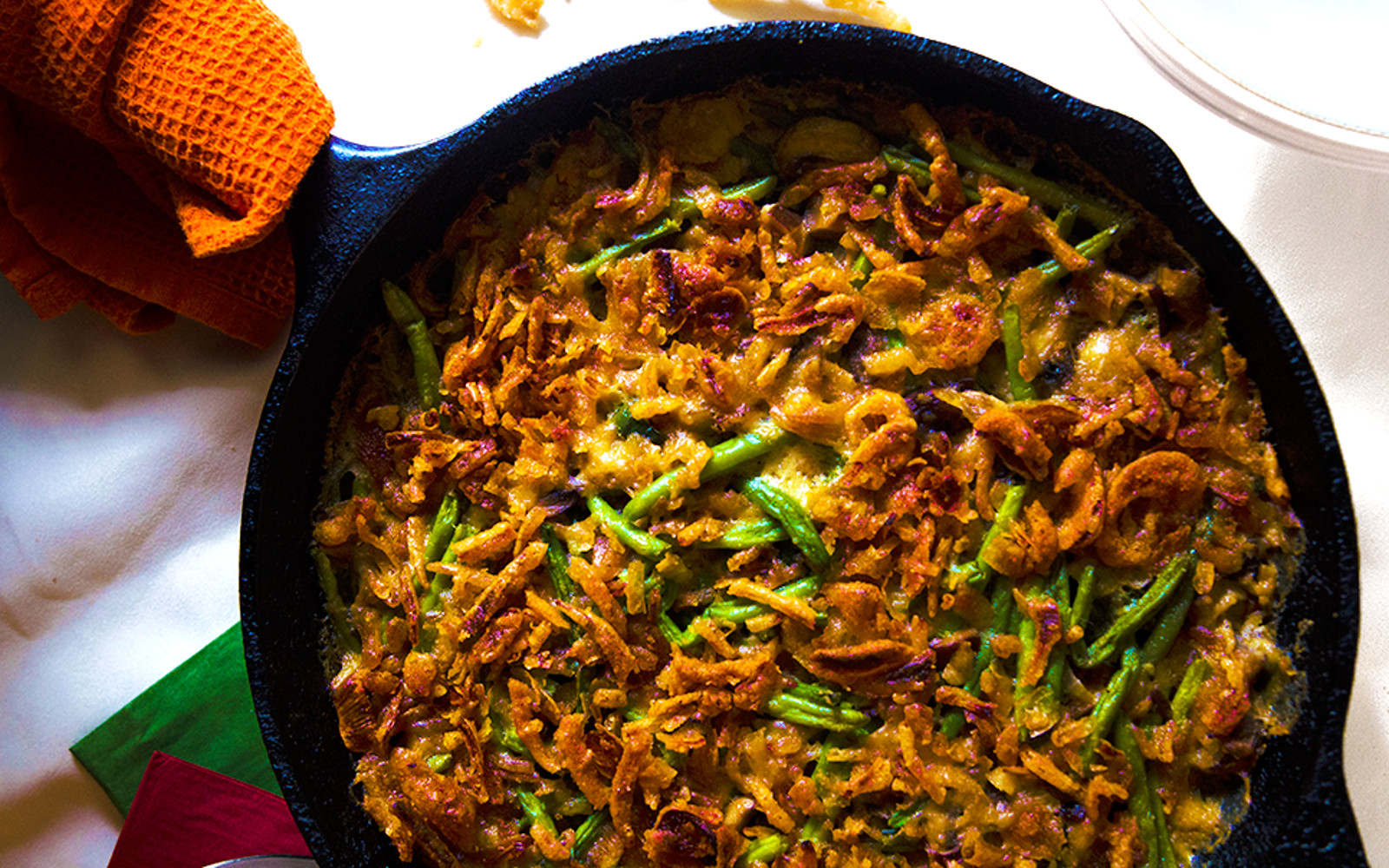 Poblano and Veggie Bacon Green Bean Skillet Casserole