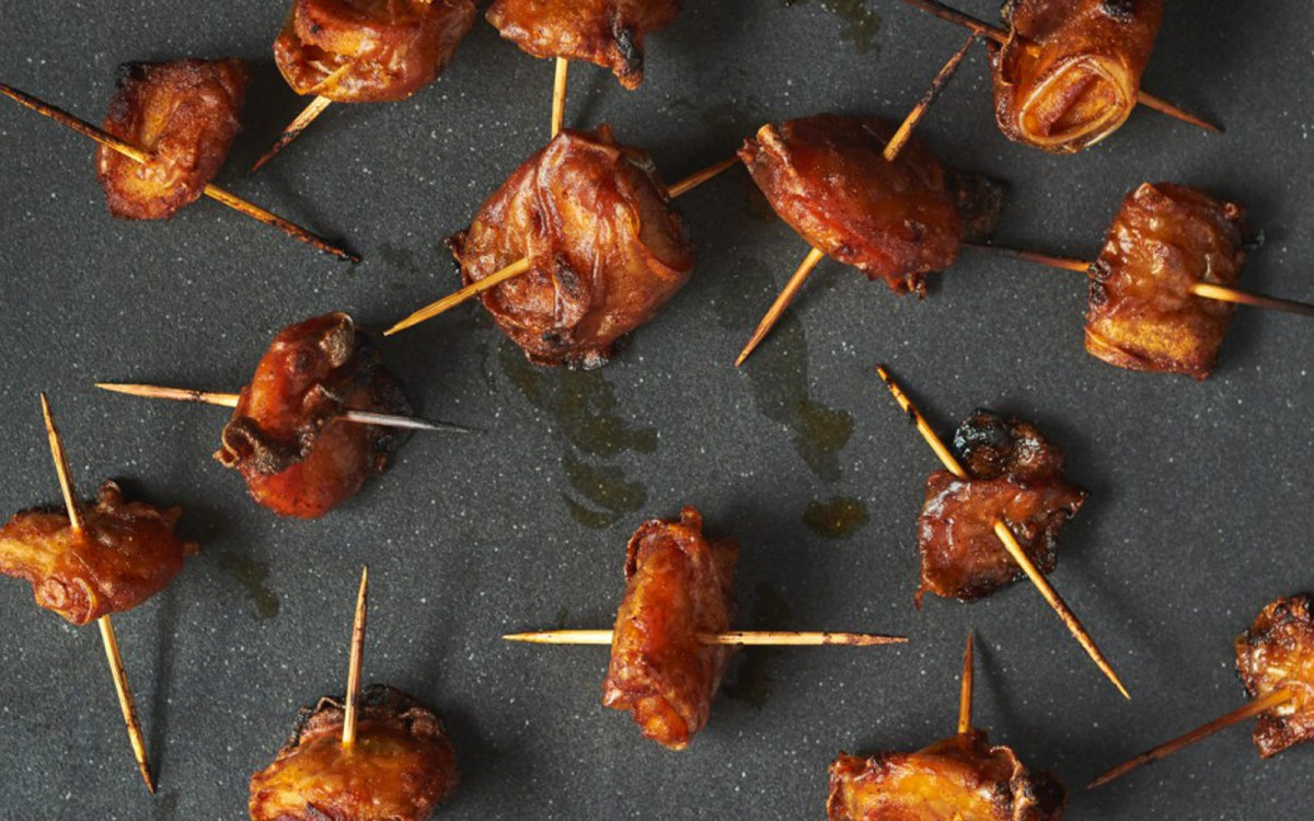 "Rice Paper ""Bacon"" Wrapped Chesnuts"