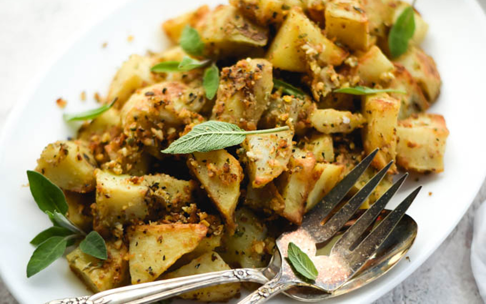 Sage and Almond Pesto Roasted Potatoes