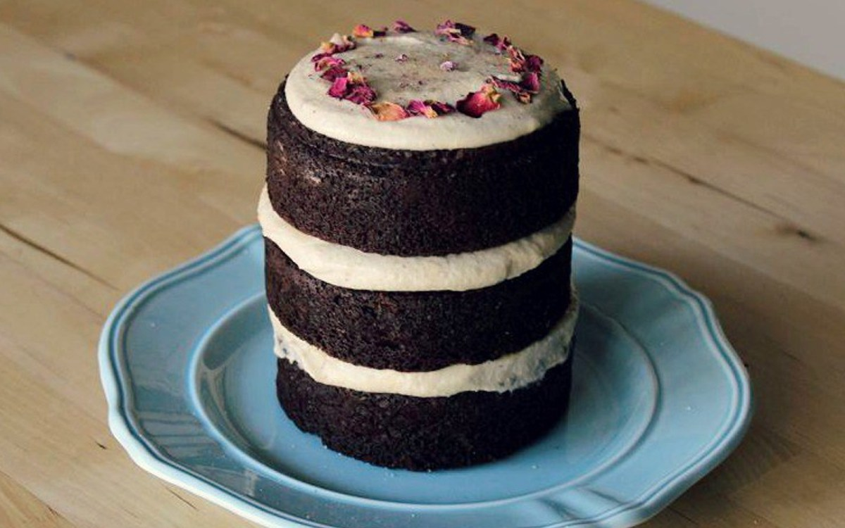 Cardamom Chocolate Cake With Rose Cashew Cream