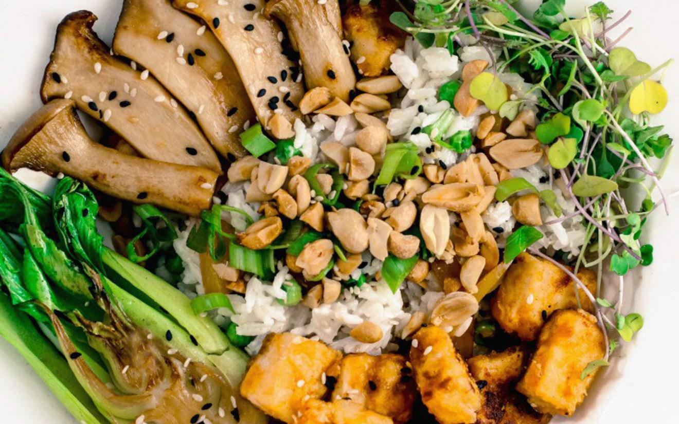 Vegan Crispy Peanutty Tofu and Trumpet Mushrooms