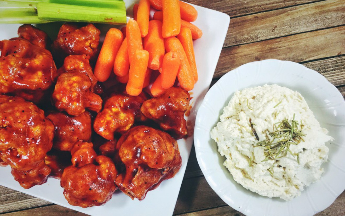 Spicy BBQ Cauliflower Wings With Cashew Dipping Sauce