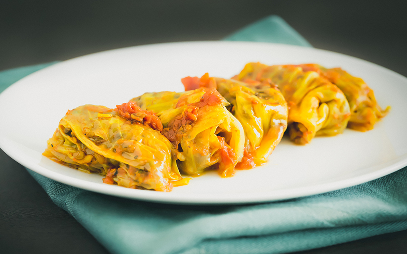 Vegan Stuffed Cabbage Rolls in Tomato Sauce