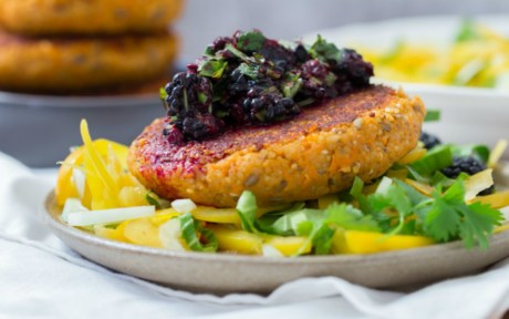 Sweet Potato Millet Patties and Blackberry Salsa [Vegan, Gluten Free]