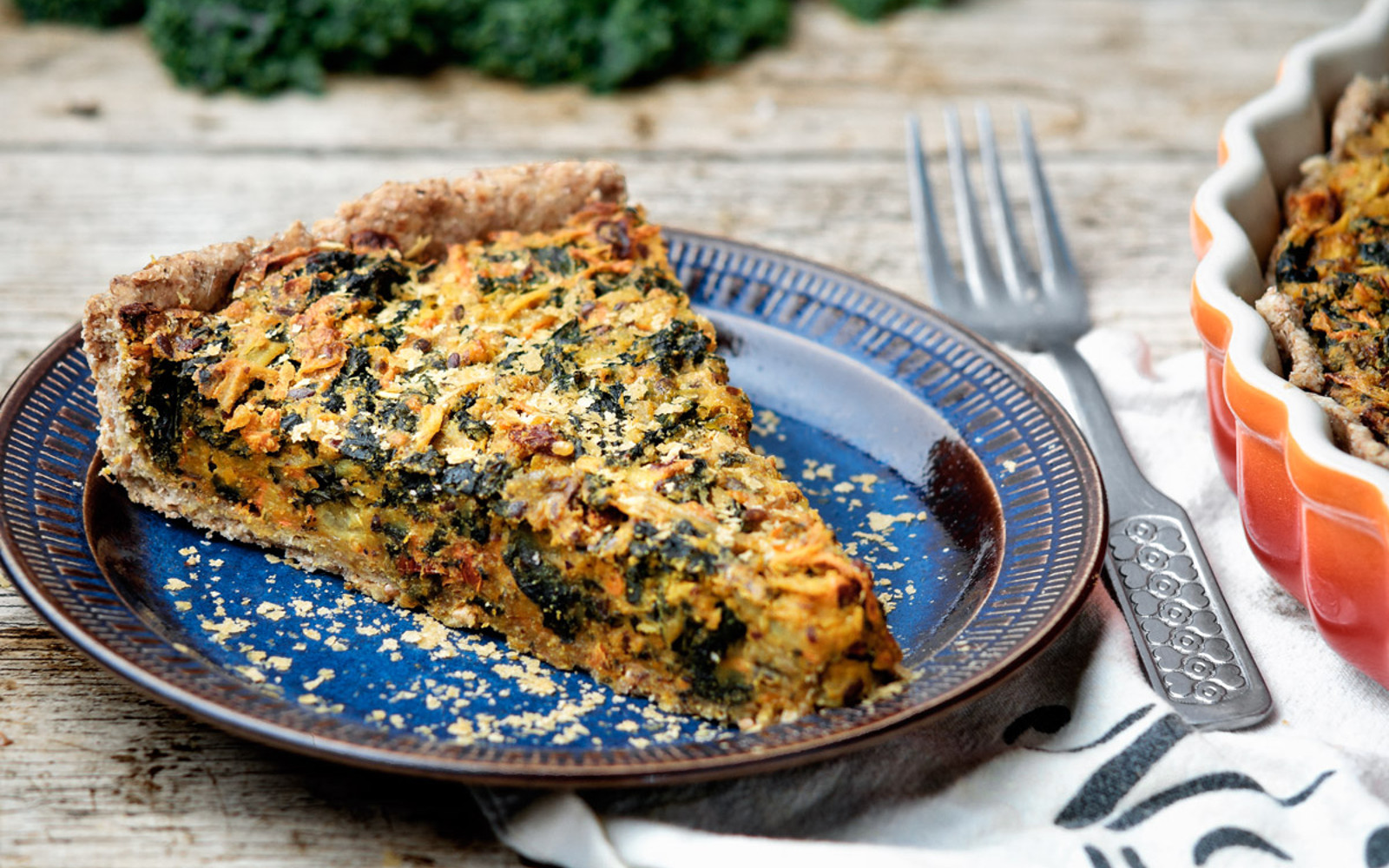 Eggless chickpea and kale quiche
