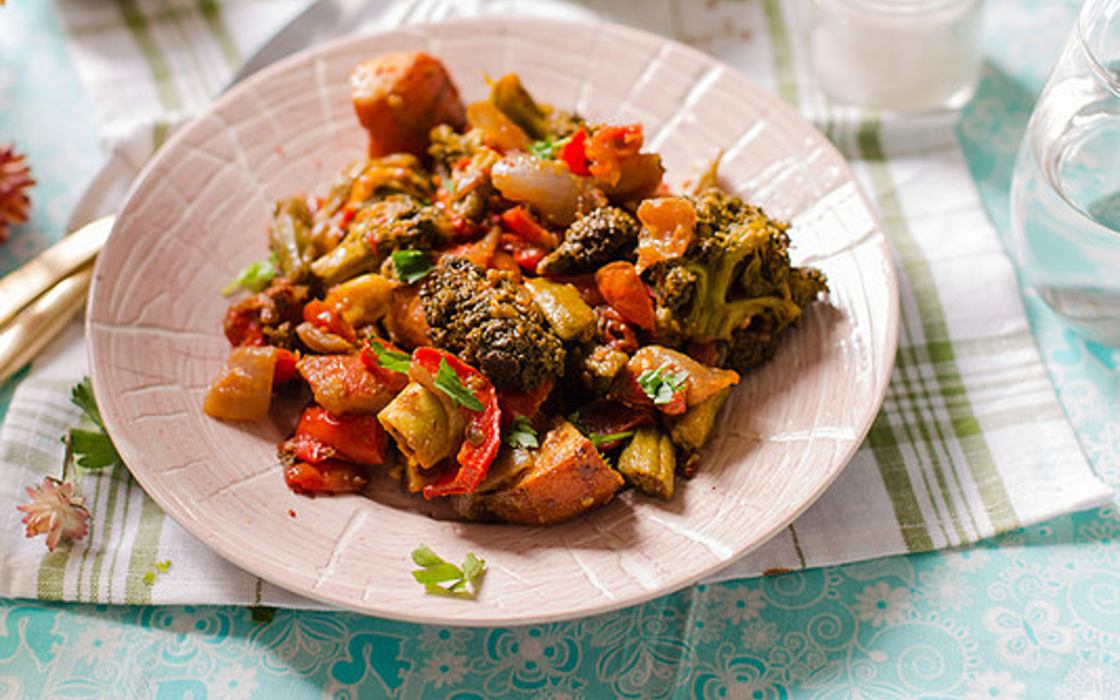 Harissa Roasted Potato Okra and Broccoli b