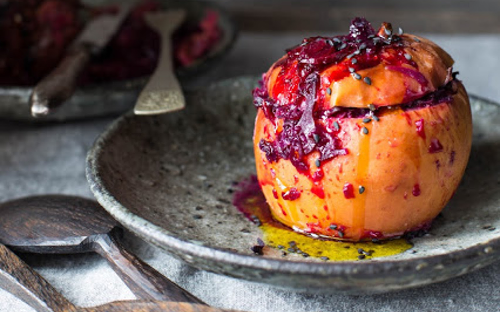 Apples Stuffed With Red Cabbage and Cranberries