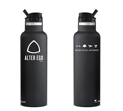 the aquaovo alter ego frio is a stainless steel thermal insulated personal water filtration bottle it filters both urban from tap water such