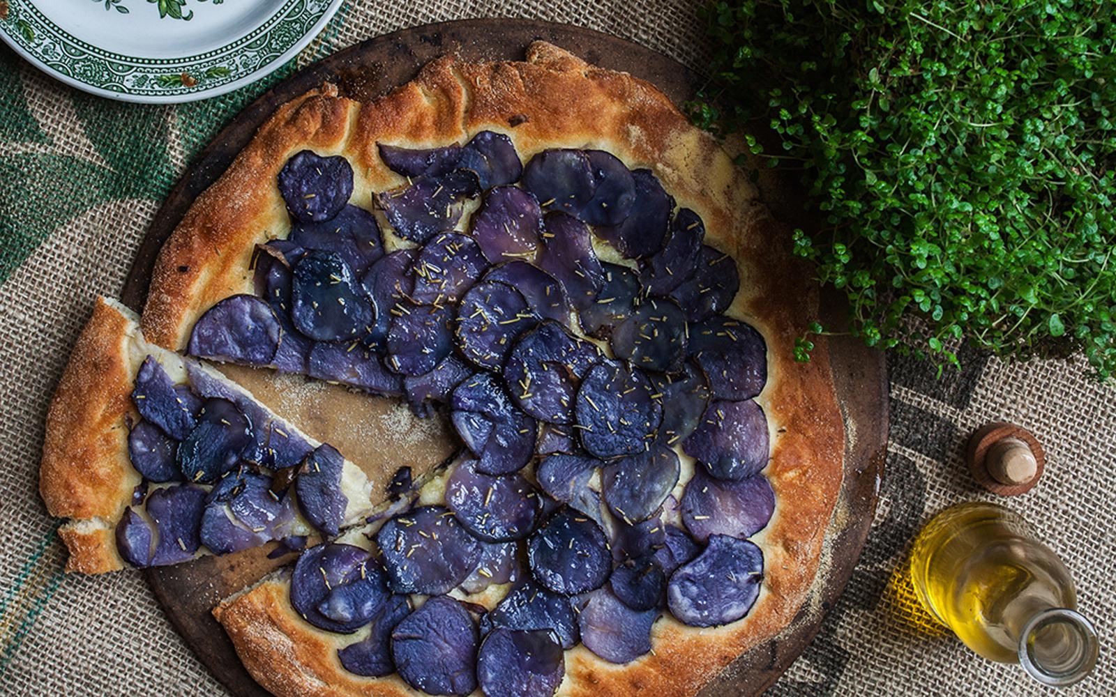 Vegan Rosemary Purple Potato Focaccia