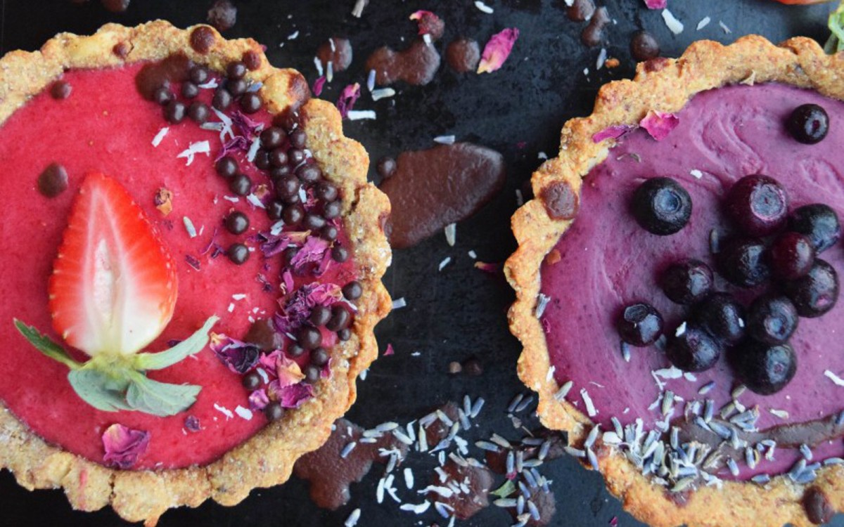 VEgan Strawberry Rose and Berry Lavender Tarts