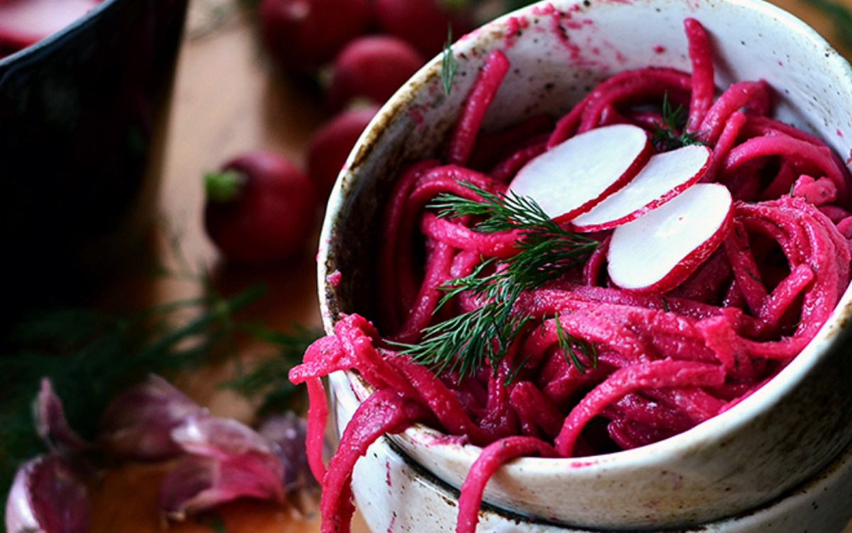 Creamy Beet and Dill Linguini
